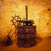 foto of wine-press  - Antique Wine Handpress of an Old Winery - JPG