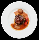 picture of chateaubriand  - Tenderloin steak in plate - JPG