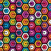 stock photo of hexagon  - Colorful geometric pattern with hexagons - JPG