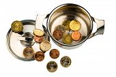 a saucepan with a few euro coins photo icon on debt and financial crisis