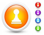 Chess Pawn Icons on Round Button Collection Original Illustration