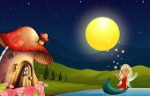Illustration of a fairy and her mushroom house