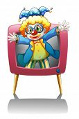 Illustration of a clown inside the pink television on a white background