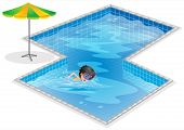 image of post-teen  - Illustration of a pool with a kid swimming on a white background - JPG