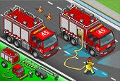 Isometric Firefighter Truck In Front View