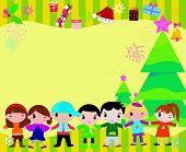 children and frame,christmas