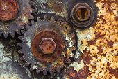 Detail Of Old Rusty Gears, Transmission Wheels