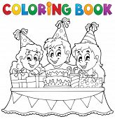 Coloring book kids party theme 1 - eps10 vector illustration.