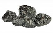 Pieces Of Coal On White Background Isolated