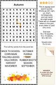 Autumn word search puzzle