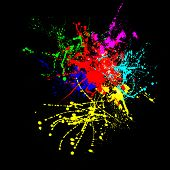 colorful splashes of color on a black background.