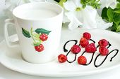 milk cup with raspberry