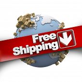 3D rendering of a free shipping concept sign with the Earth and packages