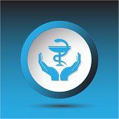health in hands. Plastic button. Vector illustration.