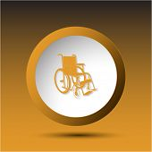 Invalid chair. Plastic button. Vector illustration.