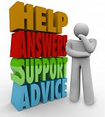 A thinking man stands confused and lost beside the words Help, Answers, Support and Advice waiting f