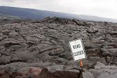'road Closed' Sign In The Middle Of A Lava Flow