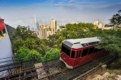 pic of tram  - The Victoria Peak Tram and Hong Kong city skyline - JPG