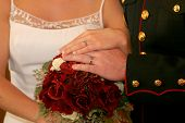 Bride & Groom Hands With Bouquet poster