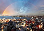 Istanbul Panorama With Rainbow