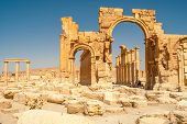 stock photo of zenobia  - Ancient Hadrian arch in Palmyra ruins complex  - JPG