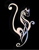 Decorative white sexy cat ornamen for tattoo design