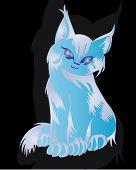 Decorative blue cute cat ornamen ,tattoo design