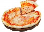 Portion Italian Pizza Margherita On Wooden Board