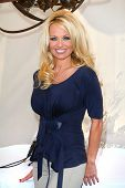 Pamela Anderson at a press conference for the New Online Social Platform FrogAds.com, Petit Ermitage