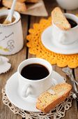 A Cup Of Coffee With Pumpkin Biscotti