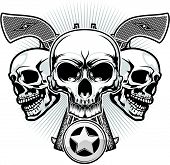 stock photo of skull  - three skulls and two guns and sheriff badge - JPG