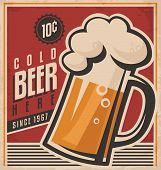 image of cold drink  - Retro beer vector poster - JPG