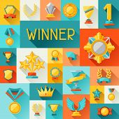 stock photo of trophy  - Background with trophy and awards in flat design style - JPG