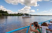 Novgorod Veliky, Russia - August 10, 2013: Excursion Ship On The Volhov River In Veliky Novgorod. No