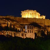 Parthenon ancient temple illuminated, Acropolis of Athens