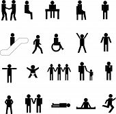 picture of people icon  - Collection of cut out people figures vectors - JPG
