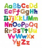 stock photo of hand alphabet  - Alphabet kids doodle colored hand drawing in white background - JPG
