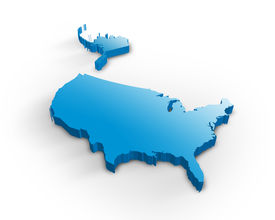 pic of united states map  - Beautiful blue Usa 3d map isolated on white background - JPG