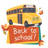 Back to school background with illustration of yellow bus.