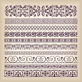 Vector set vintage ornate border frame with retro ornament pattern in antique baroque style. Arabic