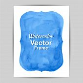 Beautiful blue watercolor frame. Vector illustration. Drawing by hand