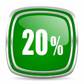 20 percent glossy computer icon on white background