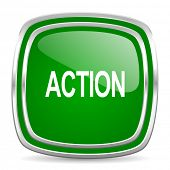 action glossy computer icon on white background
