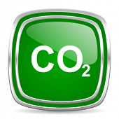 carbon dioxide glossy computer icon on white background