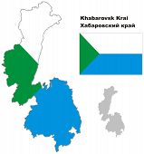 Outline Map Of Khabarovsk Krai With Flag