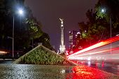 The Angel of Independence (Victory column) over Paseo de la Reforma in downtown Mexico City, Mexico