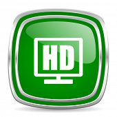 hd display glossy computer icon on white background