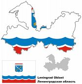 Outline Map Of Leningrad Oblast With Flag