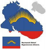 Outline Map Of Murmansk Oblast With Flag
