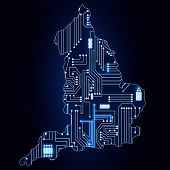 Map Of England With Electronic Circuit